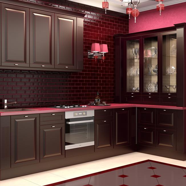 Кухня Вильгельм черный с бордовым протиром