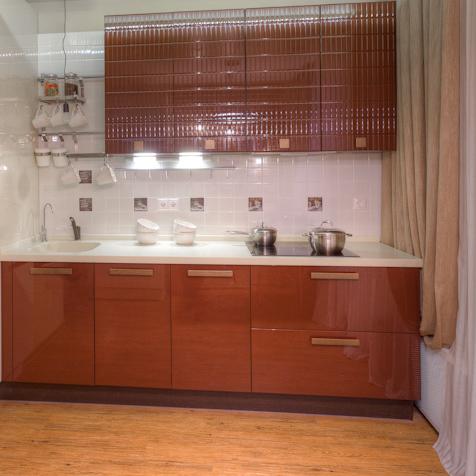 Кухня Фаворит 3 с фрезеровкой Шоколад