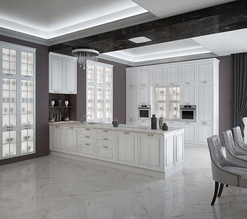 Кухня Виконт с серебристой патиной