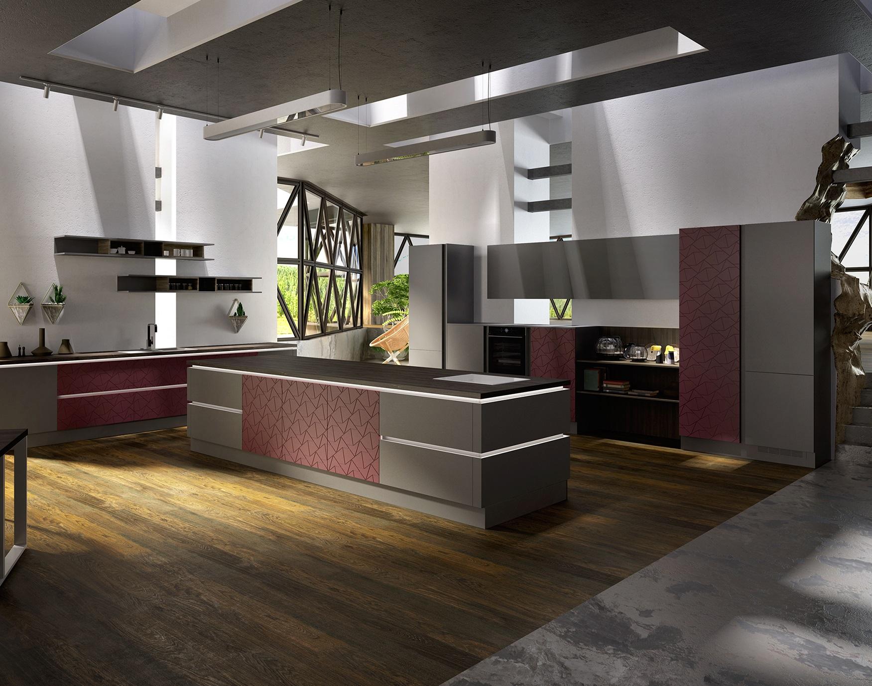 Кухня Фаворит 3 высокий глянец с фрезеровкой