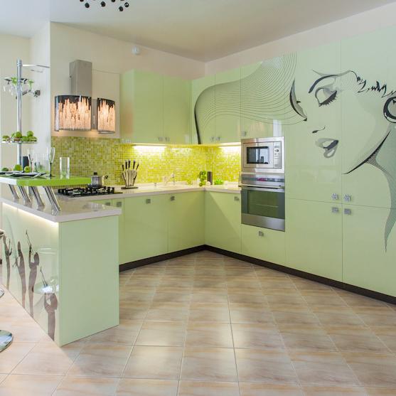 Кухня Флавия с цветной печатью